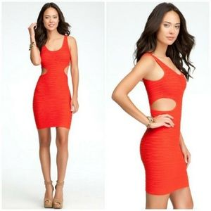 Red Bebe bodycon cut out dress